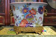 Franch Crackled Porcelain Planter Pot With Antiqued Brass Base