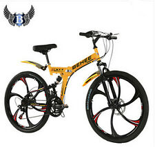21 Speed Mountain Bike Folding Bicycle 26'' Wheel Full Suspension