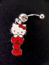 Hello Kitty Red Bow  Belly Ring Navel Ring 14G Surgical Steel Dangle