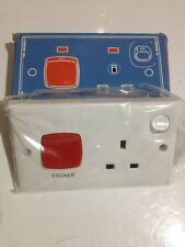 CLIPSAL 45A Classic Double Pole Cooker Control Switch with 13A Socket Schneider