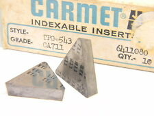 10 NEW SURPLUS CARMET TPG 543 CA711 CARBIDE INSERTS (TPGN 270612)