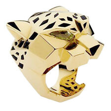 Leopard Panther Cocktail Ring Animal Green Zircon Eye Black Enamel Gold GP Sz 8