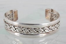 TS-10 STERLING SILVER TAXCO BRAIDED CUFF BRACELET 925 MEXICO 3510