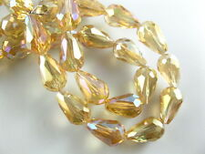 20pcs Yellow AB Glass Crystal Faceted Teardrop Beads 10x15mm Spacer Findings