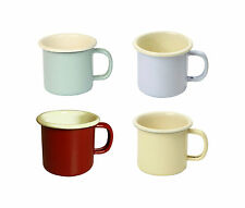 Dexam Vintage Home Set of 4 Enamel Finish Mugs Cream Lilac Red Green 450ml New