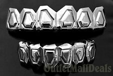 Silver Mouth Teeth Grillz Upper Top & Lower Bottom Set w Mold Kit Embossed Cut