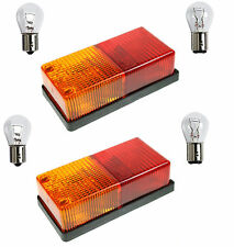 2 x OBLONG 4 Function Rear Lamp with BULBS trailer board light caravan horse box