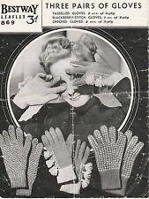 Vintage retro 40's  photo copy knitting Pattern Bestway 869 ladies gloves