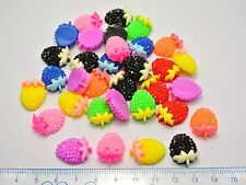 50 Mixed Color Flatback Resin Strawberry with Bows Dotted Rhinestone Cabochon