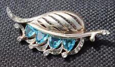 Vintage 40s Signed REJA STERLING Rhinestones LEAF Shape Pin Brooch 17.05g