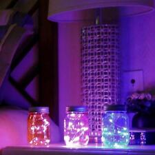 Mason Jar Solar LED Lamps Lids Light  Up Color Changing Wedding Xmas Party Decor