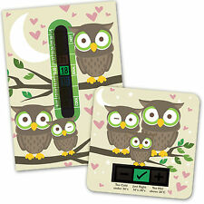 BABY BATH & ROOM THERMOMETER - OWL SET
