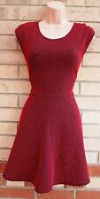 AX PARIS RED BLACK SPOTTY QUILTED POLKA DOT SKATER A LINE FLIPPY RARE DRESS 14 L