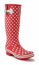 Ladies Evercreatures Red Tall Wellies Polka Dots Wellington Boots - UK 3 - 8