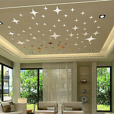 Removable Modern Wall Art Home Decor Silver Stars 3D Acrylic Mirror Sticker