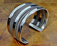 TAHE STERLING SILVER TRIPLE WIRE STAMPED CUFF BRACELET NATIVE AMERICAN SIZE 6½