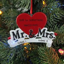 Mr. & Mrs. Couple Engagement Personalized Christmas Tree Ornament Holiday Gift