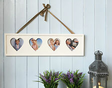 New Wooden Four Heart Photo Frame Shabby Chic French Vintage 60cm x 17cm