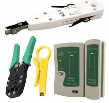 KIT LAN DI RETE rj45 cat5e rj11 Tester del cavo PC ETHERNET CRIMPER Punch Giù Strumento