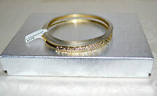 NWT $175 Alexis Bittar Paired Lucite Crystal Encrusted Bangle Bracelet Warm Gray