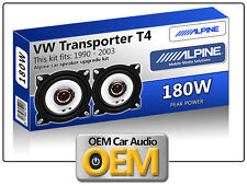 "VW Transporter T4 Front Dash speakers Alpine 10cm 4"" car speaker kit 180W Max"