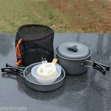 8pcs Cool Outdoor Camping Cookware Cooking Picnic Bowl Pot Pan Set