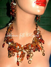 HANDCRAFTED CARNELIAN GARNET CZECH BEADS NECKLACE SET