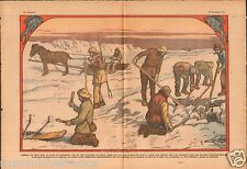 Greenland Fishing under Ice Groenland Pêche sous la Glace Fish 1933 ILLUSTRATION