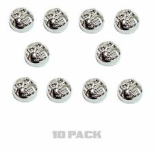 10 Chrome Skull License Plate Frame Screw Caps & Bolt Covers Motorcycle or Car