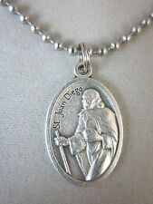 """St Juan Diego /Nuestra Senora de Guadalupe Medal Italy Necklace 24"""" Ball Chain"""