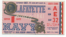1941 College Football Ticket Navy vs Lafayette