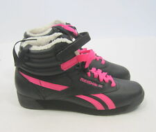 Reebok Womens Freestyle High Winter Brights black|neon pink|pap 2-875355 SIZE  7