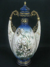 ERNST WAHLISS TURN WIEN, AUSTRIA. HANDPAINTED TWIN HANDLED LIDDED URN