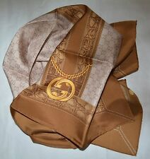 NWT GUCCI SILK INTERLOCKING GG TWILL SQUARE NECK SCARF MADE IN ITALY