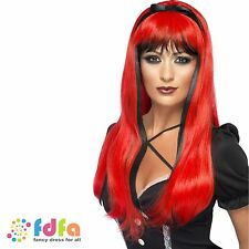 RED OVER BLACK STRAIGHT WITCH VAMP GOTHIC HALLOWEEN WIG ladies fancy dress