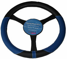 BLUE BLACK PU LEATHER LOOK UNIVERSAL CAR STEERING WHEEL COVER/GLOVE/PROTECTOR 25