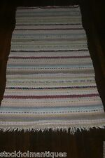 Bright Antique Swedish Hand Made Rag Rug (30 x 67 inches)