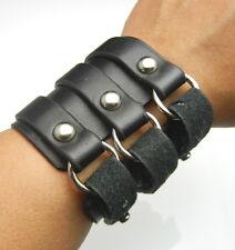 TEW603 -3 Buckles Rings Black Short Bracer Arm Armor Wristband Bracelet Biker