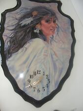 VINTAGE ABORIGINAL WOMAN WALL CLOCK GLAZED WITH  HIGH GLOSS PAINT-COLLECTIBLE