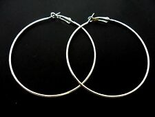 A PAIR OF SILVER PLATED  LARGE 60MM LARGE HOOP  EARRINGS. NEW.