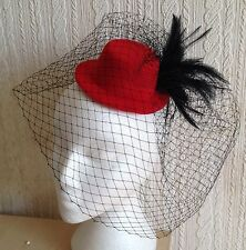 black veiling feather red mini top hat fascinator millinery burlesque wedding
