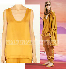 $550 GUCCI TOP YELLOW SILK DEEP NECK TANK INTERLOCKING GG LOGO sz S SMALL