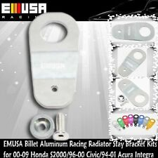 EMUSA Billet Aluminum RacingRadiatorStay Bracket Kit fit 96-00 Civic EK SILVER