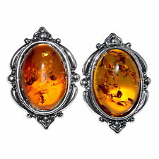 4.65g Authentic Baltic Amber 925 Sterling Silver Earrings Jewelry A8228