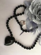 """17.75"""" - 45cms Black Onyx Heart Sterling Silver Heart Clasp Necklace"""