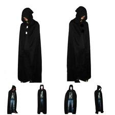 New Hooded Cape Adult Unisex Long Cloak Black Halloween Costume Dress Coats - LJ