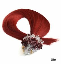 """18"""" 0.8g Easy Loop Micro Ring Beads Hair Extensions-Remy Human Hair-Grade AAA"""