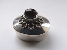 VINTAGE SILVER AND CABACHON STONE SET PILL POT