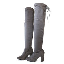 "Stretch Suede  3.25"" Covered Thick Heel Over The Knee Thigh-High Boots Gray 7.5"