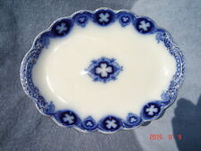 Antique Johnson Brothers Oval Serving Platter- Savoy(Flow Blue with Gold Accent)